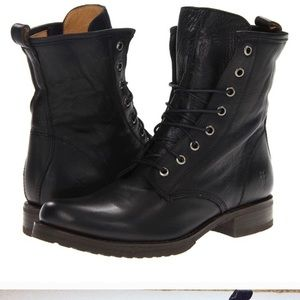 Frye Leather Veronica Combat Lace Black Boots 7